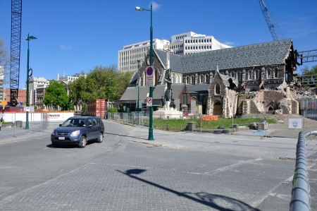 CHRISTCHURCH, NEW ZEALAND, NOVEMBER 16, 2012 - The iconic Anglican Cathedral remains a ruin in Christchurch, South Island, New Zealand, since the earthquake of 22-2-2011