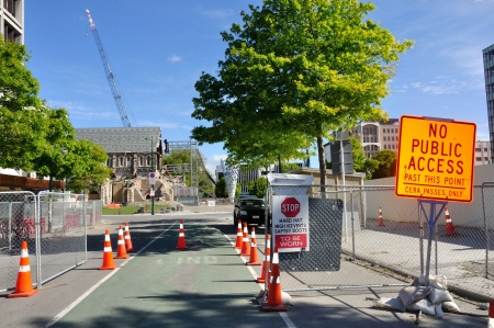cordoned: CHRISTCHURCH, NEW ZEALAND, NOVEMBER 16, 2012 - The iconic Anglican Cathedral remains cordoned off in the red zone of Christchurch, South Island, New Zealand, since the earthquake of 22-2-2011 Editorial