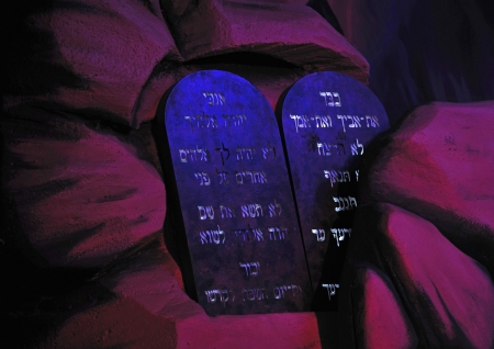 Stage props of the Biblical Ten Commandments Stock Photo