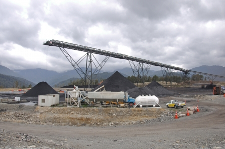 GREYMOUTH, NEW ZEALAND, OCTOBER 28: Loadout facility in operation at the Pike River Coal Mine on 28-10-2010 near Greymouth, New Zealand. 29 men were killed by an explosion in this mine a month later.