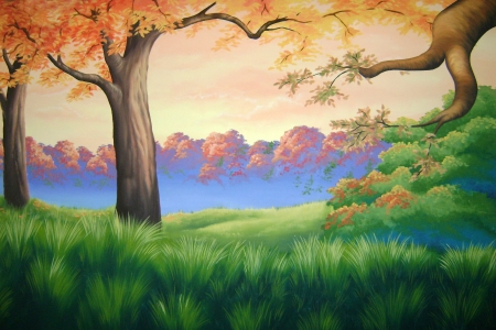 theatre backdrop featuring autumn forest scene photo