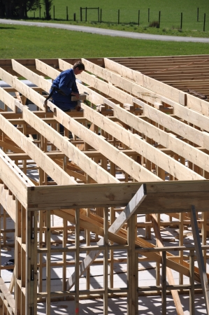 house trained: builder working on first floor framework on building