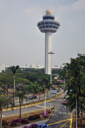 air traffic control tower and roadways, Changi International Airport, Singapore Stock Photo