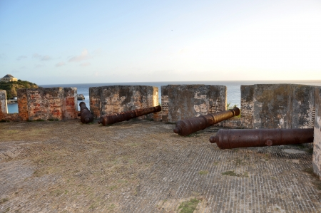 indies: Cannons at Fort Beekenburg, Caracas Bay, Curacao, Netherlands Antilles, West Indies, Central America  The fort was built in 1703 and has been used to fight off pirates, the French and the English