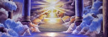 décor de théâtre avec l'entrée au ciel