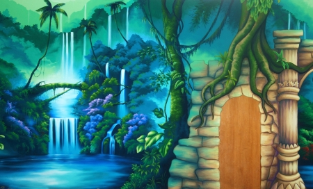 tranquillity: theatre backdrop featuring a rainforest