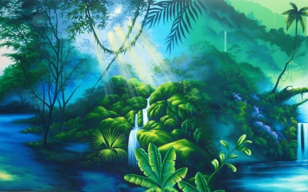 theatre backdrop featuring a rainforest Stock Photo - 20022456