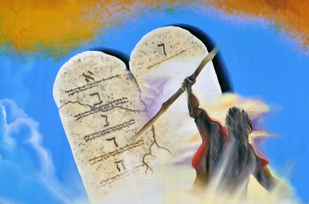 bible:  Painted theatre backdrop featuring Moses and the Ten Commandments