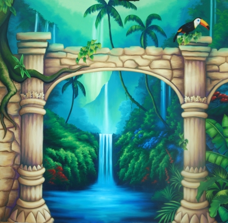 theatre backdrop featuring a rainforest and overgrown buildings Stock Photo - 20022378