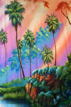 tranquillity: theatre backdrop featuring a peaceful forest