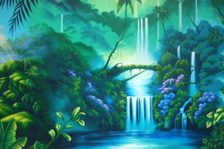 waterfall river: theatre backdrop featuring a rainforest