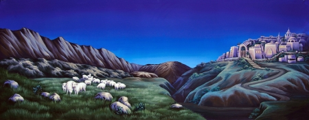 mobs: painted concert backdrop of sheep grazing on hillsides near an ancient town