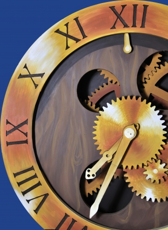 engineered: theatre backdrop featuring classic time piece against blue background
