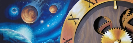 timepieces: theatre backdrop featuring space objects and classic time piece