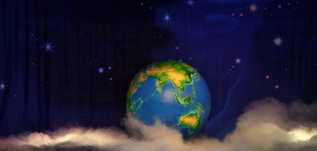 theatre backdrop featuring the earth in space Stock Photo - 20400812