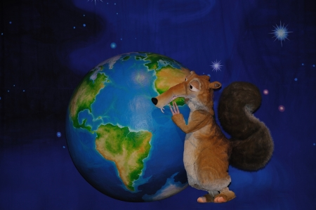 theatre backdrop featuring a squirrel and the earth Stock Photo - 20411262