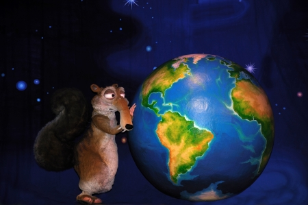 theatre backdrop featuring a squirrel and the earth Stock Photo - 20411264