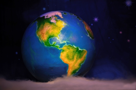 theatre backdrop featuring the earth in space Stock Photo - 20432081