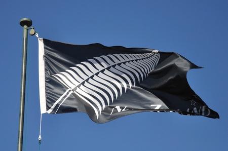pulleys: Silver Fern bandera no oficial de Nueva Zelanda Foto de archivo