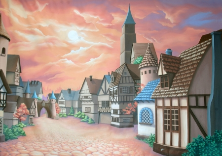 painted backdrop of medieval village Stock Photo