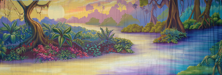 tranquillity: painted backdrop of river