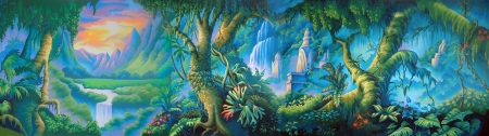 tranquillity: painted backdrop of tropical rainforest
