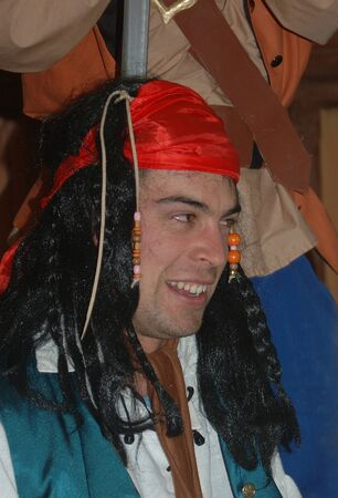 30 something: laughing pirate in stage performance