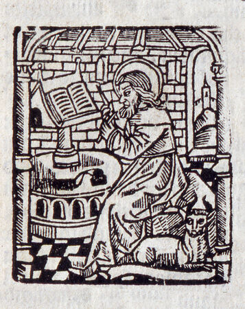 scribe: Illustration of a scribe from William Tyndales 1538 New Testament. Used with permission from the Reed Collection at Dunedin Public Library, New Zealand