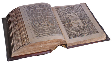 king james: First Edition of the King James Bible, 1611, open at the New Testament title page. Courtesy of the Reed Collection at Dunedin Public Library, New Zealand Stock Photo