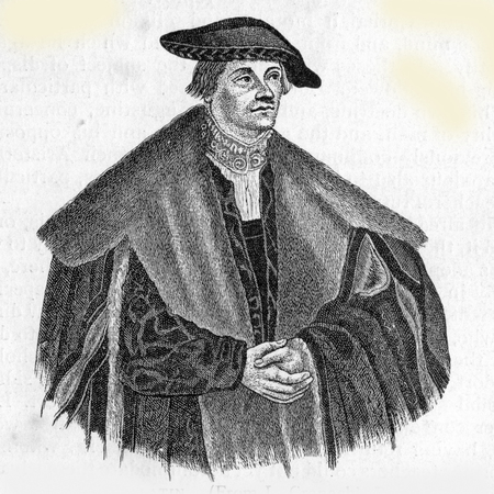 reformation: Georg e  Spalatin aka Georg Burkhardt  17 January 1484 – 16 January 1545 , an important German figure in the history of the Reformation, from an engraving by Cranach, published in Life of Luther by Julius Kostlin, 1900 Editorial
