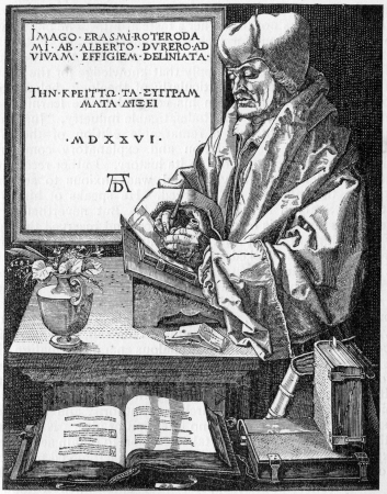 durer: Desiderius Erasmus Roterodamus  27 October 1466 – 12 July 1536 , known as Erasmus of Rotterdam, a Dutch Renaissance humanist, social critic, teacher, and theologian; from an engraving by Durer, published in Life of Luther by Julius Kostlin, 1900