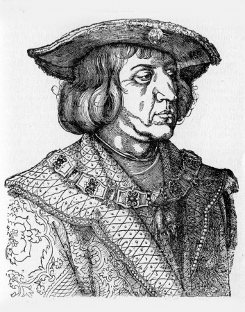 durer: Maximilian I of Habsburg  22 March 1459 - 12 January 1519 , the son of Frederick III, Holy Roman Emperor and Eleanor of Portugal, was King of the Romans , from an engraving by Durer, published in Life of Luther by Julius Kostlin, 1900