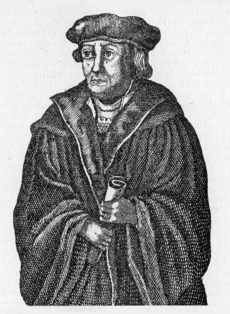 theologian: Dr  Johann Maier von Eck  1486 - 1543 , a German Scholastic theologian and defender of Catholicism during the Protestant Reformation, from an old woodcut published in Life of Luther by Julius Kostlin, 1900