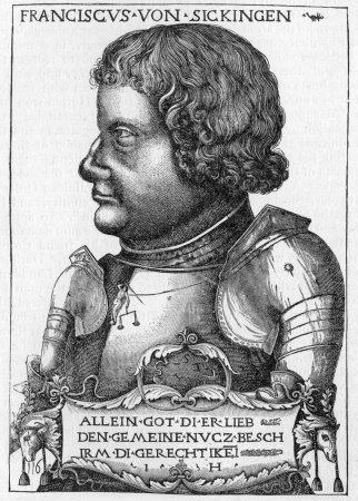 reformation: Franz von Sickingen  1481 - 1523 , a German knight and one of the most notable figures of the first period of the Reformation, from an engraving published in Life of Luther by Julius Kostlin, 1900