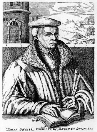 Thomas Muntzer  1489 - 1525  an early Reformation German theologian, who became a rebel leader during the Peasants