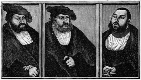 constant: A triptych of the last three Saxon Electors, from left, John the Constant, Frederick the Wise and John's son, John Frederick the Magnanimous;  from a painting by Cranach published in Life of Luther by Julius Kostlin, 1900