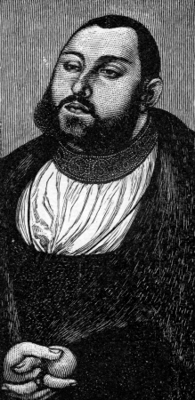 elector: John Frederick I  1503 - 1554 , called John the Magnanimous, was Elector of Saxony and Head of the Schmalkaldic League,  Champion of the Reformation , from an engraving by Cranach, published in Life of Luther by Julius Kostlin, 1900 Editorial