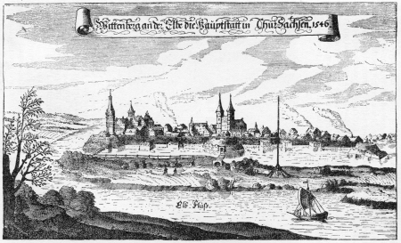 City of Wittenberg in 1546, from an engraving published in Life of Luther by Julius Kostlin, 1900 Editorial
