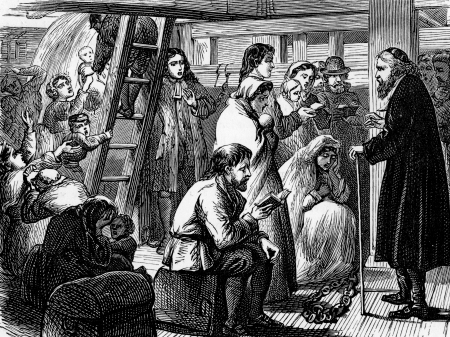 wesley: John Wesley with German passengers on board ship going to the Americas; engraving from Selections from the Journal of John Wesley, 1891 Editorial