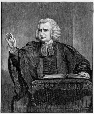 wesley: Charles Wesley preaching from the pulpit, engraving from Selections from the Journal of John Wesley, 1891