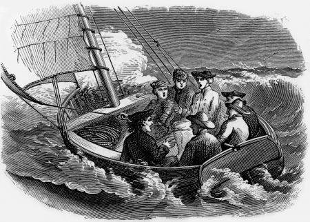 wesley: Men caught in a sailing boat in rough seas, engraving from Selections from the Journal of John Wesley, 1891