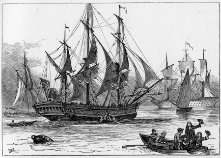 John Wesley leaving for the Americas; engraving from Selections from the Journal of John Wesley, 1891