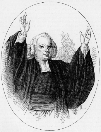 wesley: George Whitefield  1714 1770 , aka George Whitfield, an English Anglican preacher who helped spread the Great Awakening in Britain, and North American colonies; engraving from Selections from the Journal of John Wesley, 1891 Editorial
