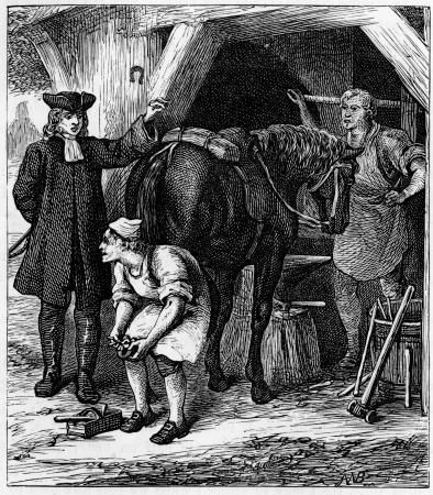 wesley: John Wesley and the farrier; engraving from Selections from the Journal of John Wesley, 1891