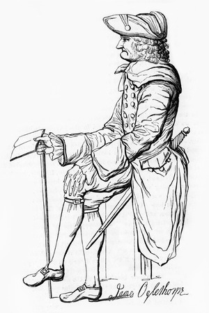 wesley: James Edward Oglethorpe  1696 – 1785 , a British general, Member of Parliament, philanthropist, and founder of the colony of Georgia; engraving from Selections from the Journal of John Wesley, 1891