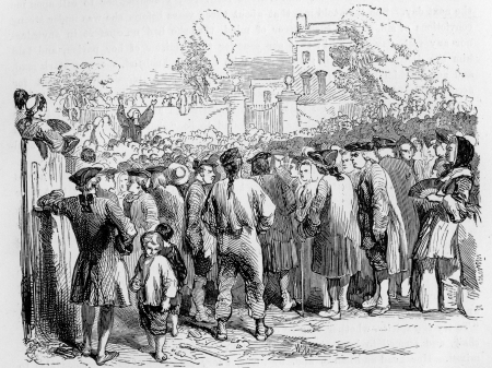wesley: John Wesley preaching at an open air meeting, engraving from Selections from the Journal of John Wesley, 1891 Editorial