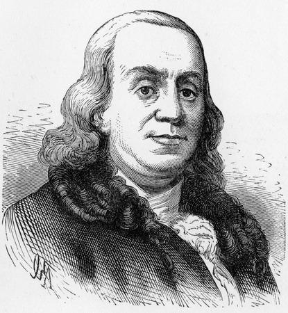 statesman: Benjamin Franklin (1706 - 1790), uno dei Padri Fondatori degli Stati Uniti, autore, stampante, teorico politico, uomo politico, postmaster, scienziato, musicista, inventore, scrittore satirico, attivista civica, statista e diplomatico; incisione dal Selezioni fro Editoriali