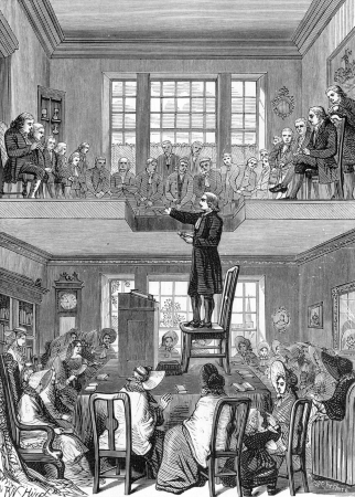 wesley: John Wesley stands on a chair while preaching to the public gallery, engraving from Selections from the Journal of John Wesley, 1891 Editorial