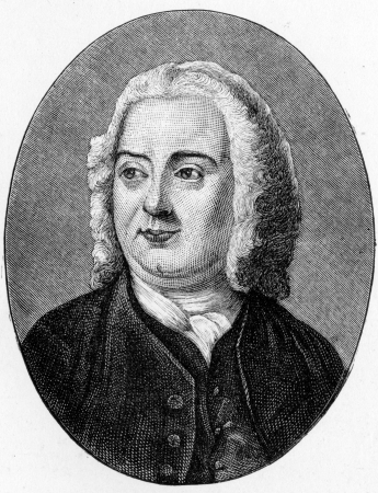 James Thomson (1700 - 1748) Scottish poet and playwright, known for his masterpiece The Seasons and the lyrics of Rule, Britannia!; engraving from Selections from the Journal of John Wesley, 1891 Stock Photo - 24153614