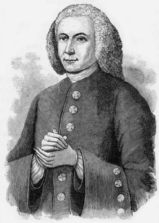 brethren: John Gambold (1711 -1771), bishop of the Unitas Fratrum, or Moravian Brethren after a break with John Wesley, engraving from Selections from the Journal of John Wesley, 1891